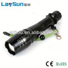 laysun aluminum alloy zoom focus glare long range outdoor waterproof zoom adjustable flashlight 2 years warranty