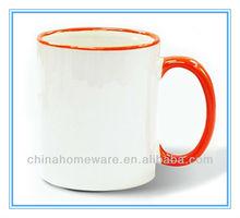 11oz color rim ceramic mug