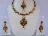 INDIAN WHOLESALE LATEST DESIGNER GOLD PLATED POLKI JEWELRY SET/NECKLACE JEWELRY SET