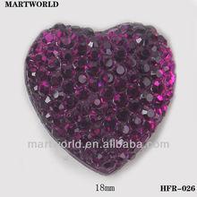 Purple color heart shape fashion design gem for wedding dress(HFR-026)