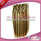 Top quality 100% human hair/clip in human hair extensions for black women