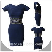 Short sleeves bandage shinny bodycon women arabic night dress