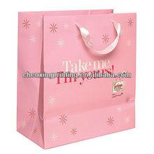 luxury logo printing kraft paper shopping bag with ribbon handles