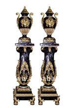 High Quality Indoor Antique Wooden Bird Urn and Pedestal