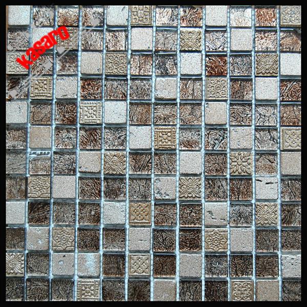 金箔モザイクタイルガラスミックスの石のモザイクタイルのガラス石の壁のモザイクアート( ky- zr2013326)