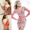Sheath V-Neck Short Beaded Cocktail Dress With Long Sleeves FJ-8885