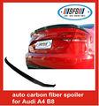 3 peças de fibra de carbono caminhão carro spoiler traseiro para audi 08-12 a4 b8