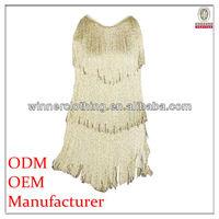 Top Fashion Spaghetti Strap Seductive Fringed Short Summer Fancy Dress for Women
