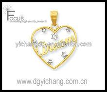 14K & Rhodium Dream in Heart with Star Pendant