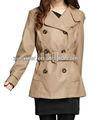 el último 2013 bronceado de imitación de cuero chaqueta de trinchera larga y capa de la pu estilo para la señora