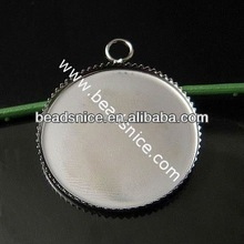 Brass Cabochon Pendant Setting,Base Diameter:25mm,Hole:about 3.5mm,Lead-Safe,Nickel-Free