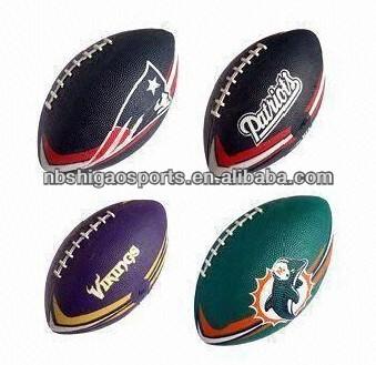 อเมริกันฟุตบอลกับกระเพาะปัสสาวะยางและ1,3,6และ9นิ้วขนาด
