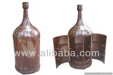 Vine Bottle Shaped Bar Solid Rosewood with Brass in Lay Work.