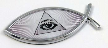 hot slae customMason Pyramid Eye Jesus Fish 3D Adhesive Car Emblem_-chrome-car-badge-emblem