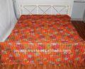 indien de travail en coton kantha broderie à la main des dessins pour draps de lit