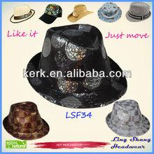 Lsf34 con estilo del mejor precio de tela lentejuelas sombrero de Fedora bajos superior sombreros y gorras hombres