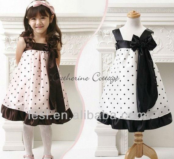 hot sales dot bow baby girl chiffon dresses baby dresses