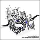 Wholesale Halloween Gloss Black Swan Design Filigree Masks With Blue Crystals Venetian Masquerade Masks MF001-BLBK
