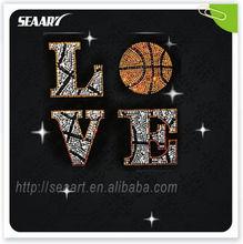 wholesale most popular products 2013 heat transfer rhinestone love ball motifs