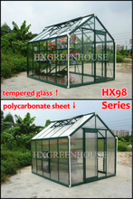 Tempered glass&polycarbonate sheet double use greenhouse construction HX98 series