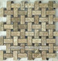 light and dark emperador marble stone mosaic border