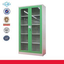 green knock down glass 2 door cabinet