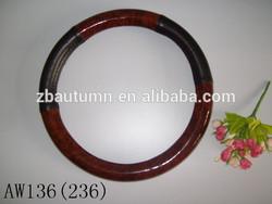 Wood grain steering wheel cover