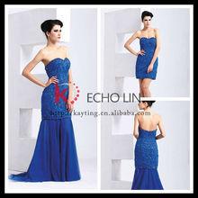 fashion style chiffon dress dual-use blue deaded evening dress chiffon evening dress with sleeves