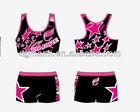 Sexy star cheerleading uniforms,cheerleading singlet and short,short printed cheerleaders