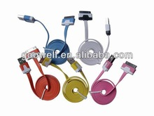2013 hot sale multi-color iphone 5 usb data cable round and falt type