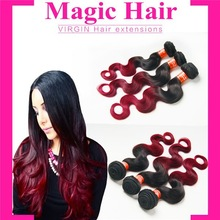 2 colors ombre wine burgundy remy raw unprocesse hair weft brazilian virgin hair