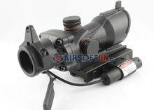 Airsoft War Game ACOG TA01NSN Type1x30 Red Green Dot Sight Rifle Gun Scope w/ Tactical Red Laser Sight JG-11, HD-2B w/ JG-11