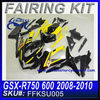 For SUZUKI GSXR750 GSXR600 Aftermarket Fairings 2008 2009 2010 YELLOW 2 FKSU005