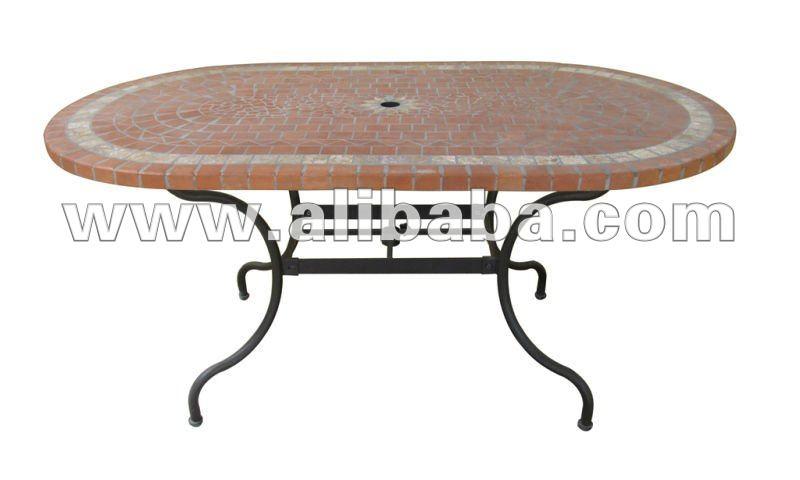 ferro battuto e mosaico in ceramica ovale tavolo da pranzo con base ombrellone-Tavolo pieghevole ...