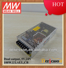 MW 5V 24V Dual Output Switching Mode Power Supply Dual Voltage Variable 100W UL CUL CB NED-100D