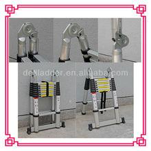 5.0M 16 steps aluminium telescopic ladder locking hinge / EN131 by SGS & CE