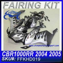 For HONDA CBR1000RR Fairing Motorcycle 2004 2005 MATT BLACK&WHITE FLAME FFKHD019