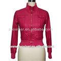 Venta caliente chaqueta de la pu, soporte collar de imitación de cuero y abrigos para dama