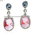 Diamante spianare orecchini cammeo, cammeo oro principessa orecchini pendenti, diamante blu zaffiro ingrosso handmade orecchini gioielli