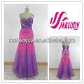Ombre Tulle Beading plissado bonito simples vestido de baile