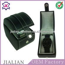 Black leather outside&velvet inside Faux Leather wholesale Single watch case