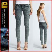 women acid wash skinny jeans distressed wash skinny jeans ladies jeans top design(GYX0704)