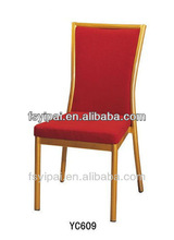 Golden Aluminium Steel Frame Red Foam Hotel Banquet Stacking Chairs (YC609)