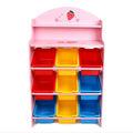 woode de fresa de juguetes para niños de almacenamiento de estanterías con 9 cajas