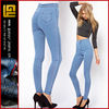 High waist denim tube pants in light wash cheap moday jeans elastic waist skinny jeans womens high waisted jeans(GYX0742)