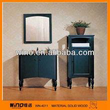Solid wood back bathroom floor standing bathroom cabinet