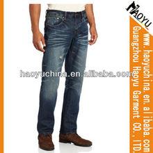Venta al por mayor de diseño europeo 100% rasgado de algodón de mezclilla pantalones vaqueros de los hombres( hym216)