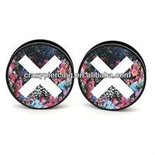 Flower Image UV Acrylic Screw Ear Plug Body Piercing Jewelry Ear Gauge Tunnel