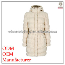 long sleeve solid color cheap down coats with hood and belt for woman