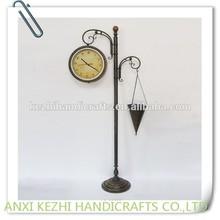 decorative garden metal floor clock